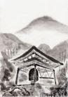 古代风景0064,古代风景,中华文化,山峰 大钟 亭子