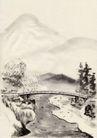 古代风景0065,古代风景,中华文化,石桥 溪流 风景