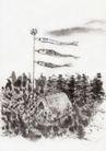 古代风景0067,古代风景,中华文化,旗帜 风车 树林