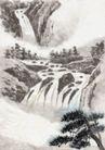 古代风景0070,古代风景,中华文化,山体 清泉 松树