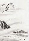 古代风景0076,古代风景,中华文化,远山 迷雾 瀑布