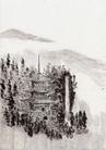 古代风景0089,古代风景,中华文化,高塔 丛林 古代