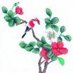 花鸟国画0063,花鸟国画,中华文化,桃花 绿叶 小鸟
