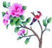 花鸟国画0073,花鸟国画,中华文化,花枝 招展 绿叶