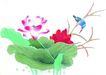 花鸟国画0079,花鸟国画,中华文化,荷花 花叶 翠鸟