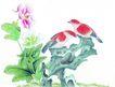 花鸟国画0093,花鸟国画,中华文化,鸟儿 花间 唱歌