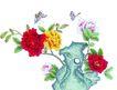花鸟国画0094,花鸟国画,中华文化,红花 美丽 飞舞