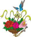 吉祥物品0068,吉祥物品,古玩吉祥,燕子 花篮 红花