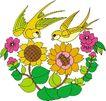 吉祥物品0097,吉祥物品,古玩吉祥,燕子 向日葵 春天