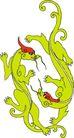 龙纹百龙夺珠0084,龙纹百龙夺珠,古玩吉祥,战斗 对手 绿色