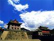 居庸关长城一景,历史胜地,首都风光,城楼 房子 蓝天