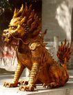 天一门前鎏金铜獬,雄伟紫禁城,首都风光,雄狮 怒发 冲冠