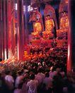 九华山祗园寺的佛事活动,安徽省,全国各省美景,金佛 三圣 朝拜