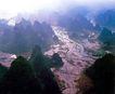 层峦叠嶂的桂林山水,广西壮族自治区,全国各省美景,水田 密布 田梗