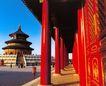 祈年殿9,颐和园美景,古代名胜,红色 宫室 门柱