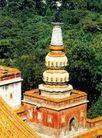 颐和园的塔2,颐和园美景,古代名胜,佛塔 黄墙 树林