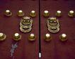 天坛礼堂长廊0070,天坛礼堂长廊,古代名胜,铜环 大门 敲门