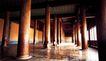 长陵凌恩殿内景,宝陵碑亭,古代名胜,宫室 顶梁 屋柱