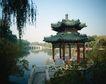 故宫内景0064,故宫内景,古代风景,亭子 柳树 湖水