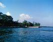 地方名胜0063,地方名胜,古代风景,湖水 蓝天 绿树