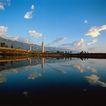 地方名胜0096,地方名胜,古代风景,河流 倒影 蓝天