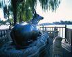 旅游景点0040,旅游景点,古代风景,石像 动物 柳枝