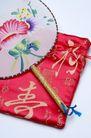 中国风0043,中国风,中国传统,一把扇子 绸缎 绣字