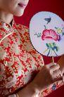 中国风0047,中国风,中国传统,精致的扇子 绣花旗袍