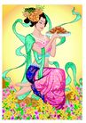 中秋0010,中秋,中国传统,跪立 花丛 月饼