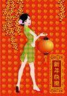 元旦0009,元旦,中国传统,壁画 过年 红灯笼