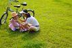 亲子休闲脚踏车0043,亲子休闲脚踏车,休闲,母女玩耍