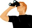人物休闲0092,人物休闲,卡通人物,男子 望远镜 天文