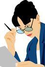 人物休闲0101,人物休闲,卡通人物,工作人员 职业女性 看文件