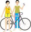 人物休闲0116,人物休闲,卡通人物,两人 友谊 单车