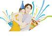 人物休闲0128,人物休闲,卡通人物,中奖 欢乐 拥抱 彩带 情侣