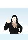 人物休闲0131,人物休闲,卡通人物,中国女性 现代女性 领结 自信 服饰