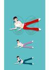 健身0082,健身,卡通人物,保养 享受 健康