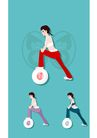 健身0084,健身,卡通人物,活力 转动 器具