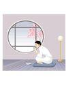 健身0123,健身,卡通人物,在家里 品茶 盘坐 圆形窗户 窗外