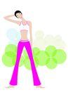 健身0131,健身,卡通人物,活动脖子 美脖 高挑 新潮 洋红色裤子