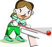 台球0002,台球,卡通人物,打台球 得意 胜券在握 比划 十拿九稳