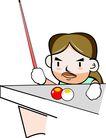 台球0006,台球,卡通人物,观察 贴面 碰撞 母球 神态