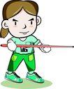 台球0008,台球,卡通人物,球杆 试杆 笔直 动作 握杆