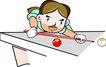 台球0012,台球,卡通人物,伏卧 趴桌 姿势 帅气 高手