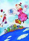 商业印象0004,商业印象,卡通人物,翅膀 气球 天空 旅行 童话
