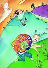 商业印象0011,商业印象,卡通人物,爬山 怪人 云 儿童画 想象