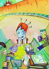 商业印象0015,商业印象,卡通人物,读书 苦闷 发呆 烦躁 工作