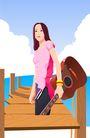 时尚女性0129,时尚女性,卡通人物,吉它 音乐 梦想 天空 桥