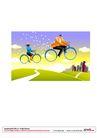 漫画商业人物0036,漫画商业人物,卡通人物,骑自行车 飞行 小道