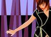 男女名媛0012,男女名媛,卡通人物,低头 眯眼 套装 舞姿 手势